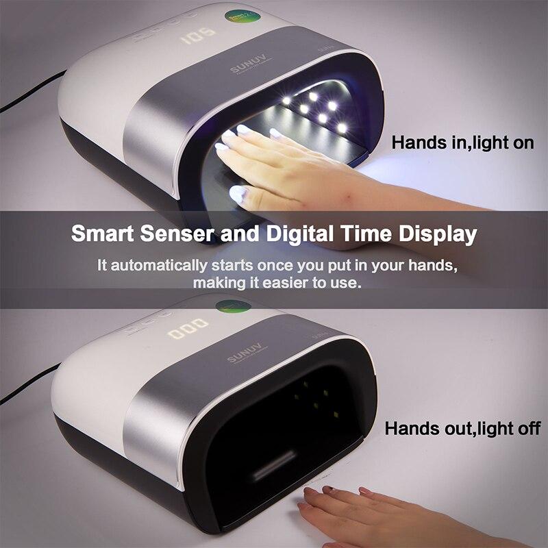 SUNUV SUN3 secador de uñas Smart 2,0 48 W UV lámpara LED de uñas con temporizador inteligente memoria Invisible temporizador Digital de pantalla uñas máquina de secado - 4