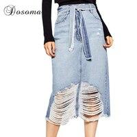 American Apparel Hole Ripped Denim Skirt Women 2017 Spring Summer Tassel Long Jeans Skirts Womens High