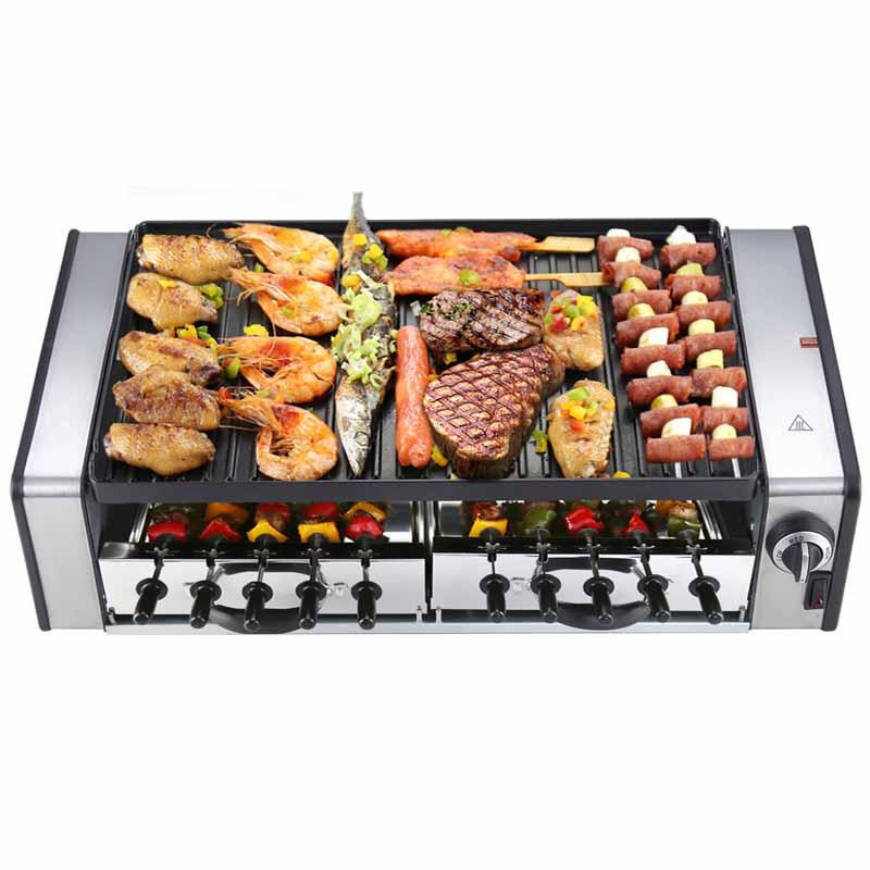 Kitchen Appliances 220v Household Non-stick Korean Electric Smokeless Bbq Grill &hot Pot Teppanyaki Pan For Outdoor Party