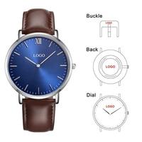 CL025 Reloj Personalizado OEM Engraving Watch Custom Logo Men Genuine Leather Watches Vogue Classic Design Your Brand Watch