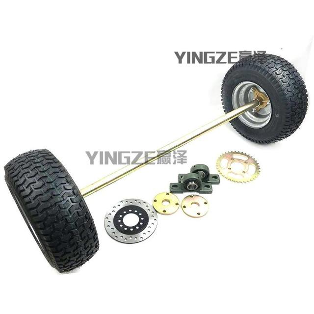 US $75 0 |DIY Four Wheel GO KART KARTING ATV UTV Buggy 100CM Rear Axle  Brake Disc Sprocket With 6 Inch Wheel -in Go Kart Parts & Accessories from