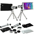 9 unidades kit de cámara de fotos: 12x telescopio trípode + 3 lentes + nota cubierta impresionante case para samsung galaxy note 7/5/4/3/s5 neo s4 s6 edge