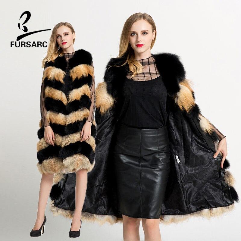 FURSARCAR New Winter Women Real Fox Fur Fashion Long Vest Genuine Leather Black Red Fox Fur Thick Warm Sleeveless Fur Vest Coa