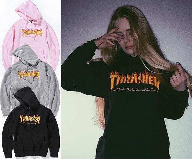 Thrasher Hoodie Sweatshirts women Fleece Jacket Tracksuit Flame Letter  Pullover Skateboards Thrasher Pink Couple Hoodie Coats 7313968e51