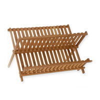 Large 2 Tier bowl Natural Bamboo Dish Drying Rack Flatware Holder Plate Storage Holder Plate Wooden Flatware Foldable Dish Rack