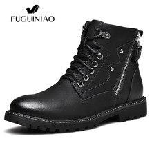 3a3434e068 Piel De moda Casual hombres De cuero botines invierno felpa Botas Hombre  Botas De madera Retro Zapatos De Hombre cremallera Zapa.