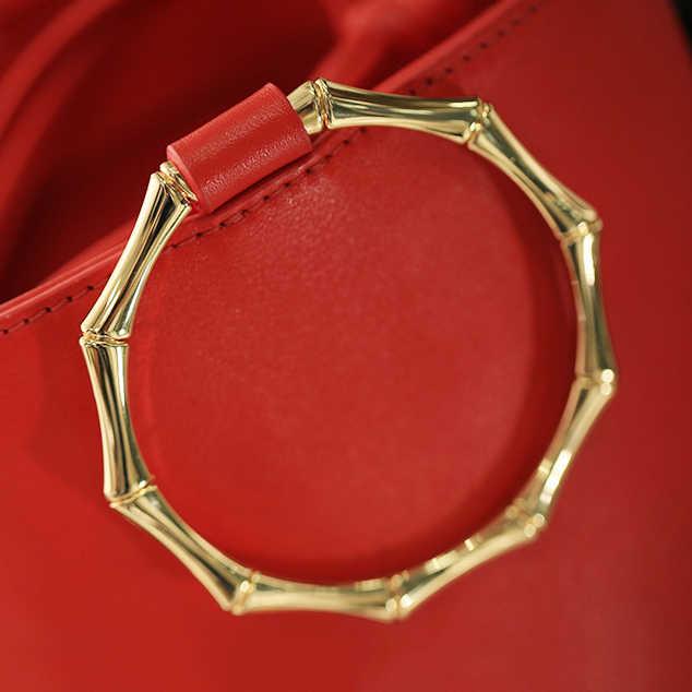 Золотой пистолет черный сумка фурнитура металлическая ручка кольцо Бамбук  фестиваль Для женщин сумки 30e7f4a35fd