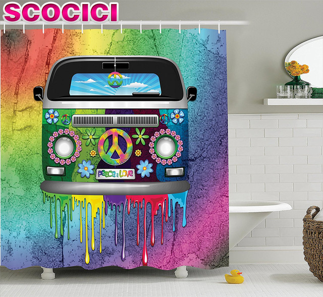 Groovy Decorations Shower Curtain Set Old Style Hippie Van With Dripping  Rainbow Paint Mid 60s Youth