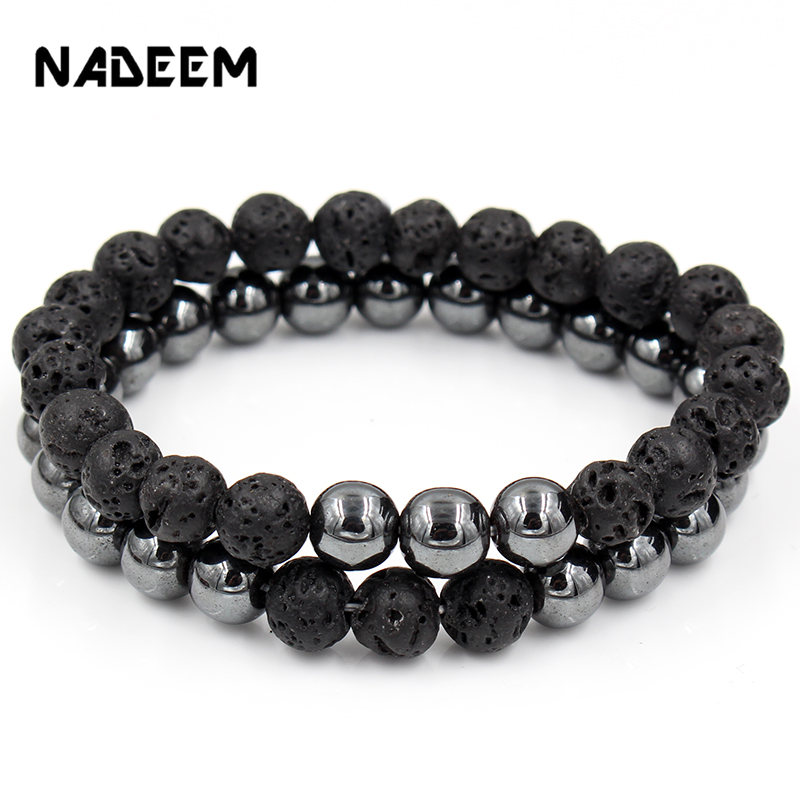 Fashion Set of 2 Couple Punk Beads Bracelet Set Lava & Hematite Beads Stone Bracelet Sets Women Men Jewelry Gift for Him pulsera