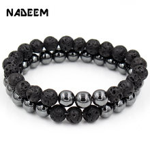 Fashion Set of 2 Couple Punk Beads Bracelet Lava & Hematite Stone Sets Women Men Jewelry Gift for Him pulsera
