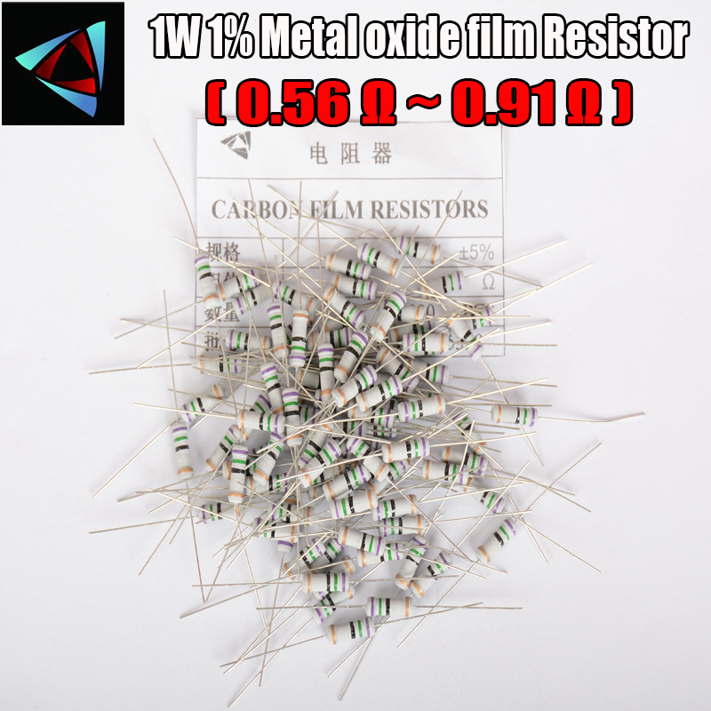 20pcs 5% 1W Metal Oxide Film Resistor 0.56 0.62 0.68 0.75 0.82 0.91 Ohm Carbon Film Resistor