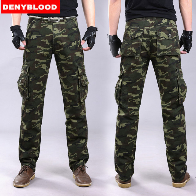 4dfce9a462a Denyblood Jeans 2016 Brand New Mens Camouflag Military Cargo Pants Multi- pockets Baggy Men Casual