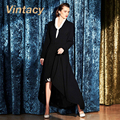 Vintacy abrigo moda vintage negro hembra abrigo de otoño abrigo de las mujeres office lady delgado ocasional abrigo largo 1950 s de las mujeres prendas de vestir exteriores
