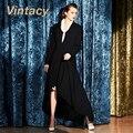 Vintacy vintage moda casaco preto casaco feminino outono revestimento das mulheres senhora do escritório de slim mulheres outerwear casuais casaco longo 1950 s