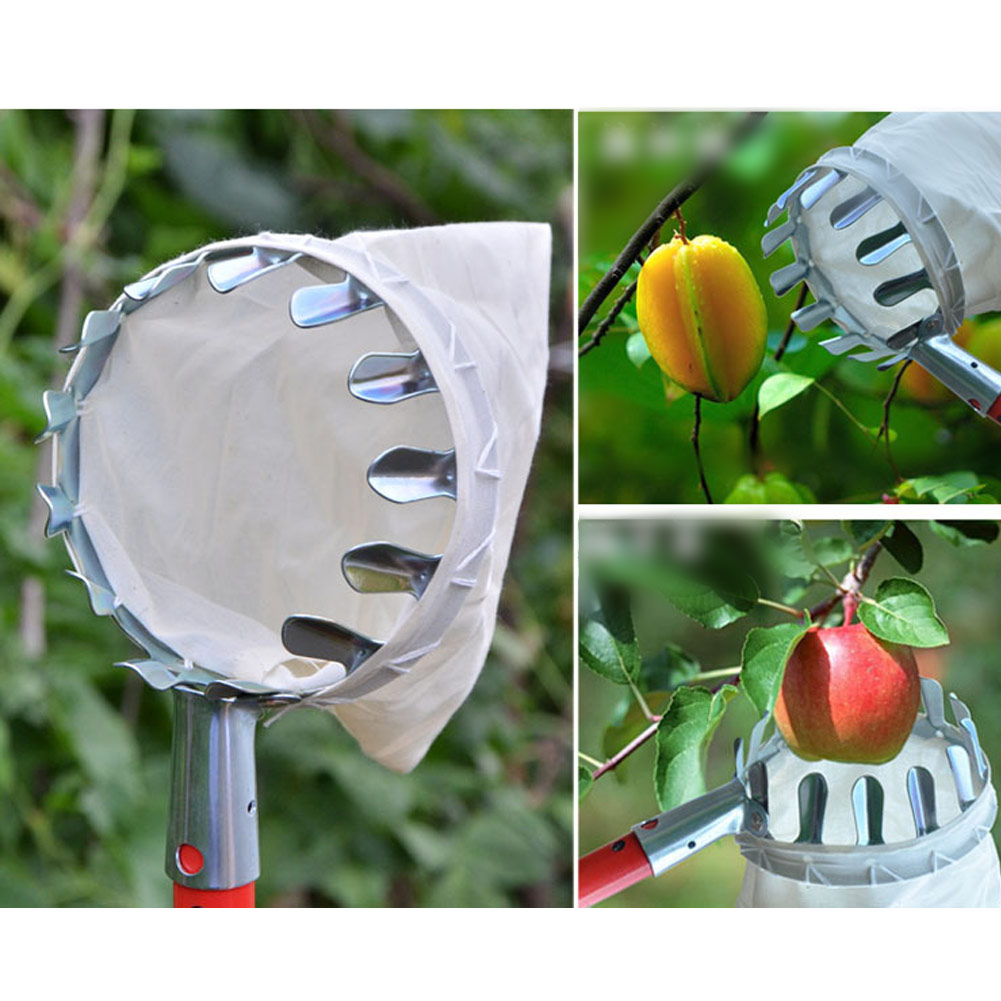 New Garden Pruning Fruit Picker Basket Bag Gardening Apples Pear Peach Picking Tool High Trees Collection Gathering Hand Tools