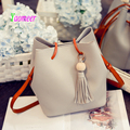 fashion tassel women composite bag bucket handbag high quality pu leather shoulder messenger bags large capacity beading sac b04