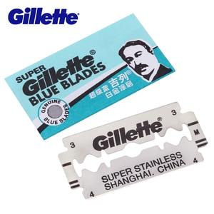 Image 4 - Gillette süper mavi tıraş bıçağı bıçakları erkekler için paslanmaz çelik 5 bıçakları x 20 kutuları çift kenarlı tıraş bıçakları kafaları