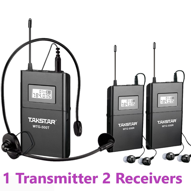 High Quantity 1 Transmitter 2 Receivers Takstar WTG 500 Wireless Tour Guide System UHF frequency 6