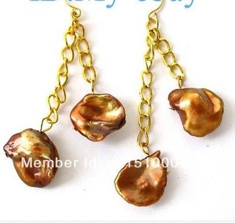 shitou 0026 Brown Rainbow Keishi Keshi Petal Pearl Earrings 14K/20