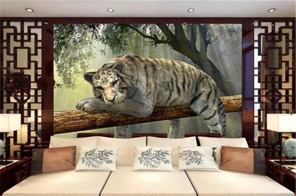Us 8 48 47 Off 3d Wallpaper 3d White Tiger Outdoor Scenery Living Room Bedroom Background Wall Decoration Wallpaper In Wallpapers From Home