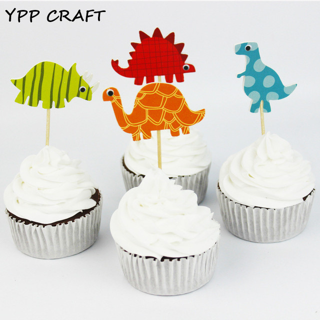 YPP CRAFT Dinosaur Party cupcake toppers picks decoration for kids ...