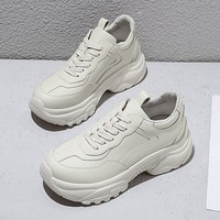 Women's Chunky Sneakers Genuine Leather Women Platform Shoes Lace Up Beige Vulcanize Shoes Womens Female Trainers Dad Shoes