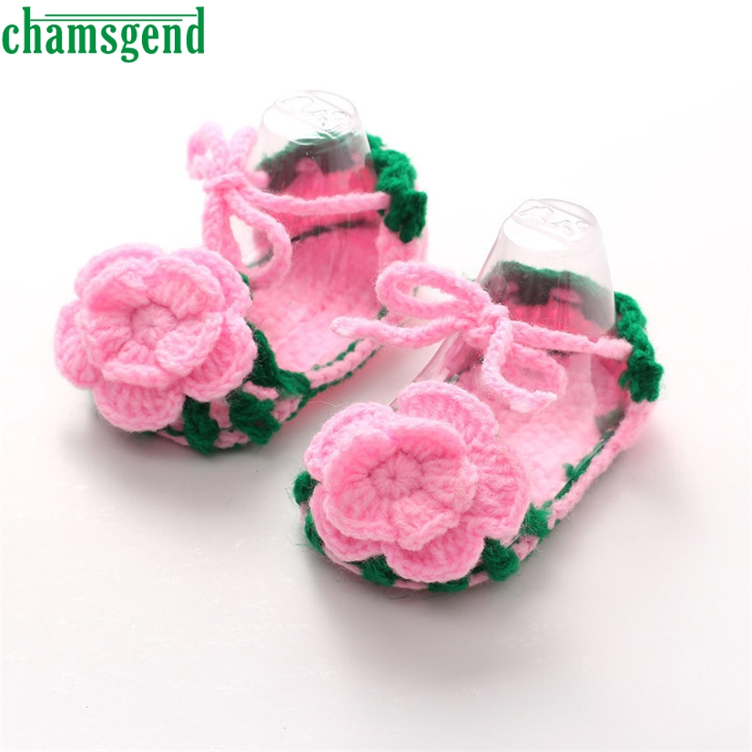 CHAMSGEND Best Seller Crib Crochet Casual Baby Girls Handmade Knit Sock Roses Infant Sho ...