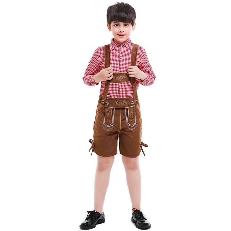 Kid Boys Oktoberfest Khaki Lederhosen Suspenders Plaid Top Shirt Shors Pants Set Bavaria Outfit Clothes For Youth Children 5-12T