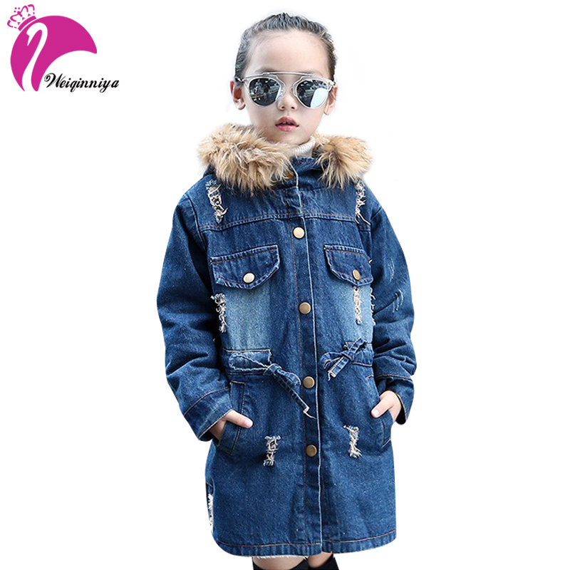 New Brand Children Winter Jacket Coat For Girls Fashion Plus Thick Velvet Fur Outwear Hooded Jeans Denim Jackets For Girl plus size 29 44 men s casual winter straight jeans pants fashion cotton zipper brand clothing denim thick winter hot new loose