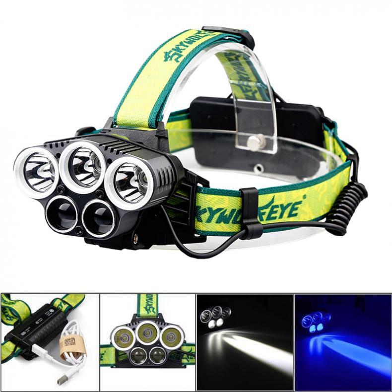 SKYWOLFEYE F526 Headlamp 1500Lm 3x T6+2x XPE 3 LED Rechargeable HeadLight Torch Fit For Outdoor Fishing Camping Hiking