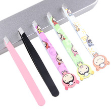 Cosmetology Cute Cartoon Stainless Steel Eyebrow Clip Tweezers Eyebrows Eyebrow Clip Oblique Mouth Eyebrow Pliers stylish stainless steel eyebrow tweezers silver