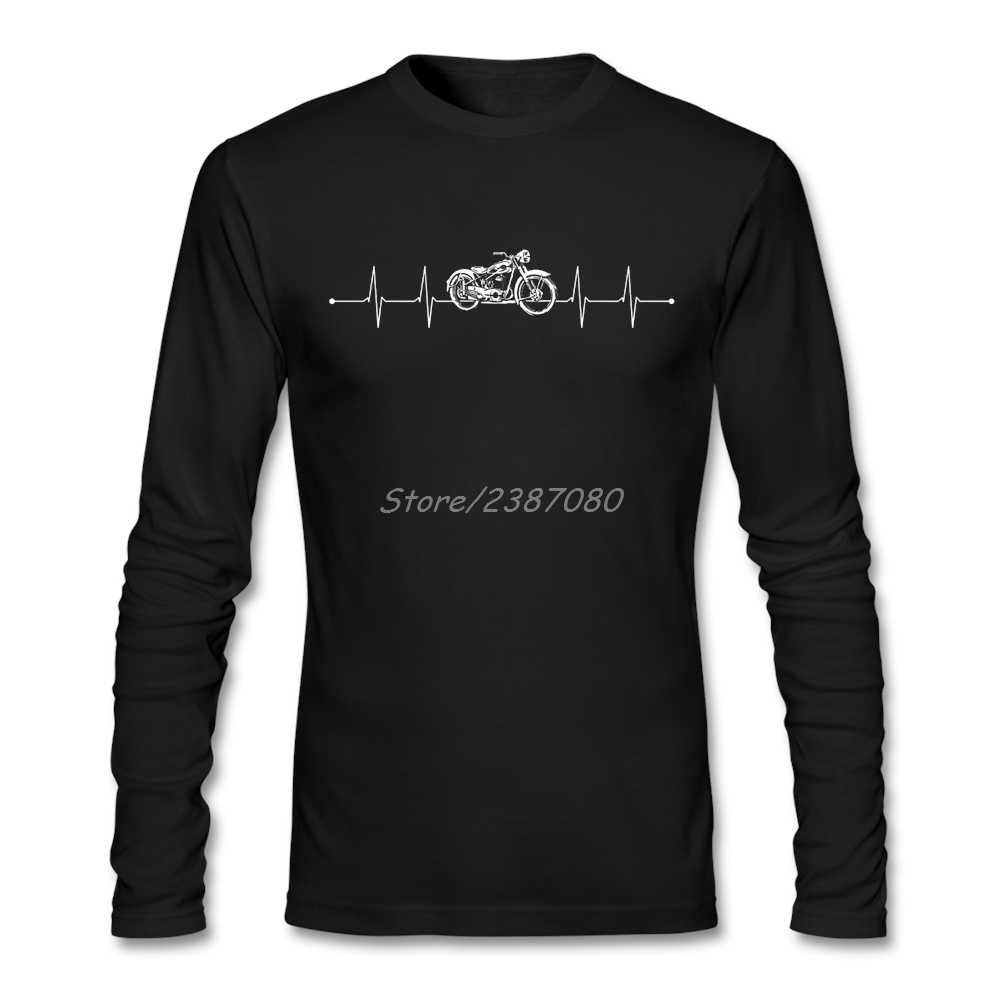 Motorcycle Heartbeat T Shirt Long Sleeve Custom Brand Clothing Popular Kpop O-neck Cotton  Mens T Shirts
