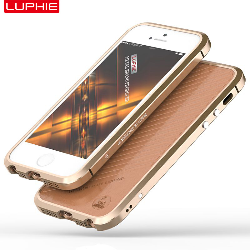 for iPhone 5 Case iPhone 5s Protector iPhone SE Shell Metal Frame + Leather Cover Cool Fashion Strong Protective Accessory