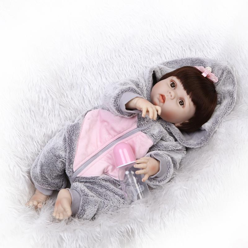 23inch NPK 57CM Soft Silicone Reborn Baby Doll Girl Toys Lifelike Babies Boneca Full VInyl Fashion Dolls Bebe Reborn Menina npk black skin full silicone girl pacifier model baby dolls 56cm lifelike reborn baby boneca can enter water bath doll toys