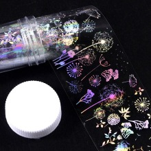 1pc Holographic Nail Foil Sticker Fireworks Line flower animal  Art Transfer foil Decals stickers