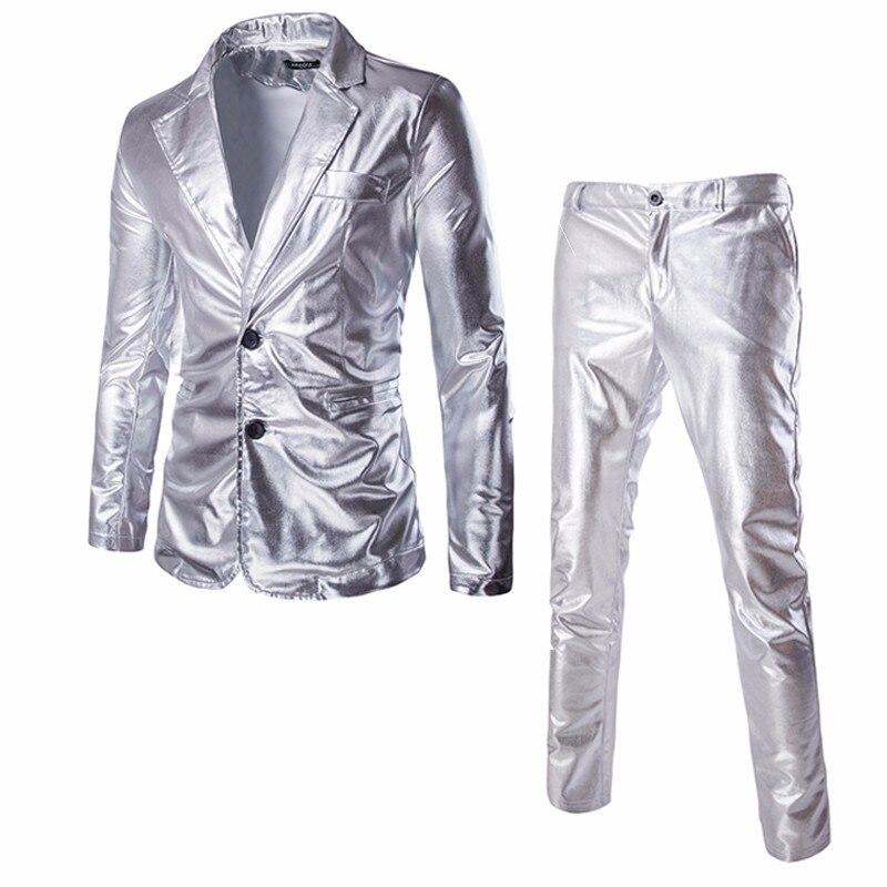 Shiny Coated Metallic Suit Blazer 2018 Luxury Brand 2 Piece Suit (Jacket+Pants) Nightclub Halloween Suits Custom Homme Silver