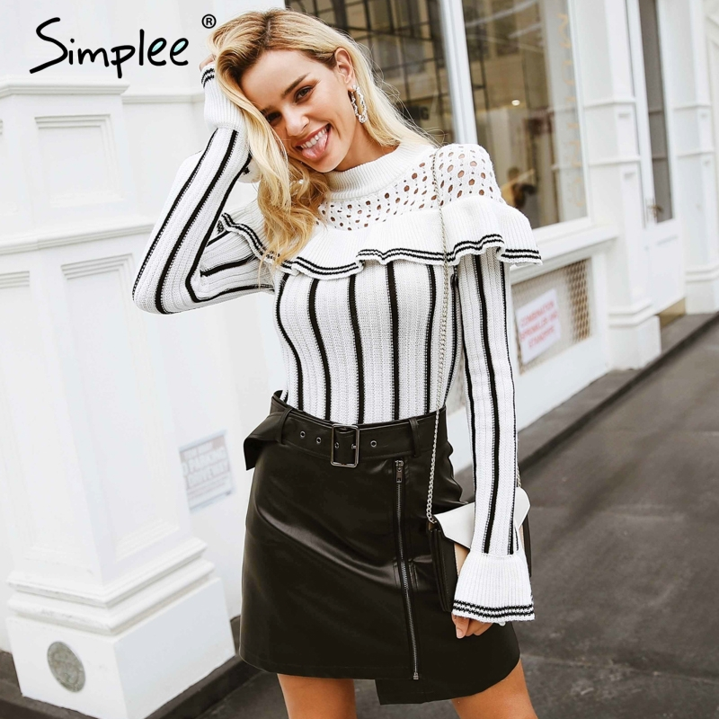Simplee Hollow Out Ruffles Striped Knitted Sweater S18ST0007