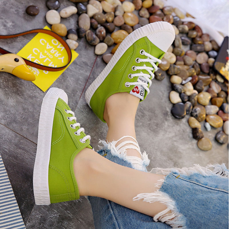 E TOY WORD Fashion Spring Women Sneakers Canvas Shoes Lace Up Solid Sewing Breathable White Sneakers Chaussure Femme Size 40 in Women 39 s Vulcanize Shoes from Shoes