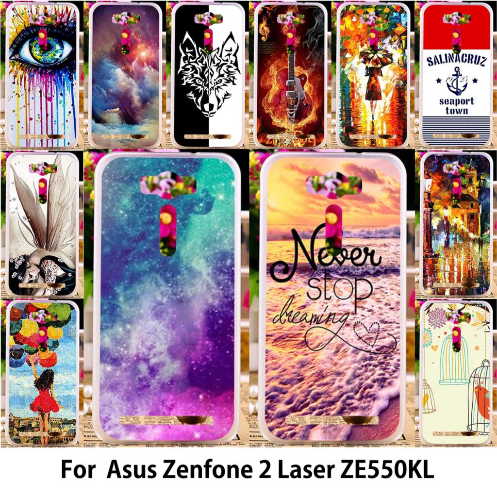 AKABEILA Soft TPU Hard PC Abstract Printed Mobile Phone Case For Asus Zenfone 2 Laser ZE550KL Z00LD Zenfone2 Laser ZE551KL Cover