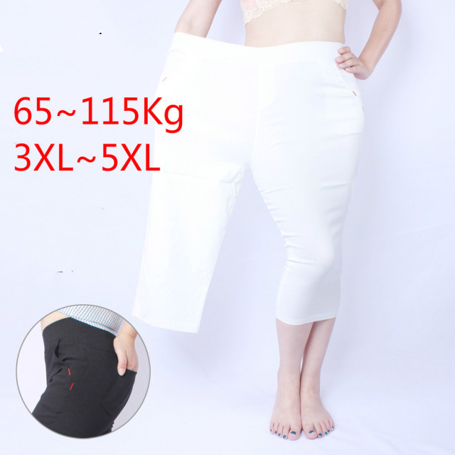 Summer Hot Sale Plus Size 3XL~5XL Fat MM Navy blue Black White Slim Pencil Women Leggings Pants