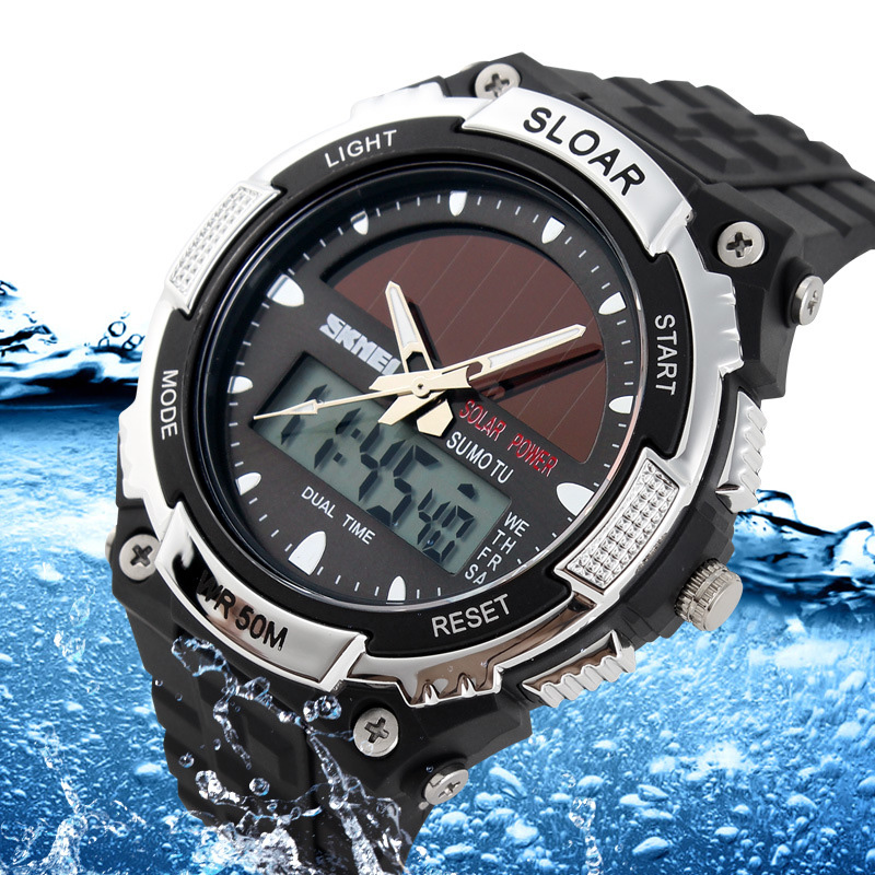 Wristwatch Mens Solar-Battery Digital Dual-Powered Water-Resistant Yellow Sports Silicone-Strap