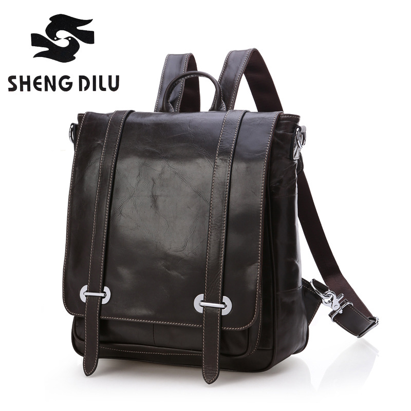 New 2017 Men's First Layer Genuine Leather Solid Black Backpacks Bolsa Mochila 14 Inch Laptop Bags for Men Rucksack High Quality high quality england vintage style genuine leather men backpacks for college school backpacks for 14 inch laptop bags 9024