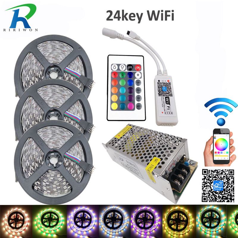 15M RGBW SMD 5050 LED Strip Light  IP20 DC12V 60Leds/M 300LEDs Flexible Light strip RGB White/WW+wifi 24key controlle+10A power форма для регби padres 18 carlos quentin baseball mlb jersey