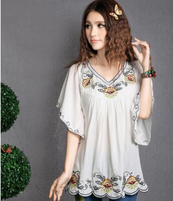 d4338f02168 Womens Girls Mexican Embroidered Peasant Tops Mexican Bohemian Vintage  Ethnic Tunic Blouses
