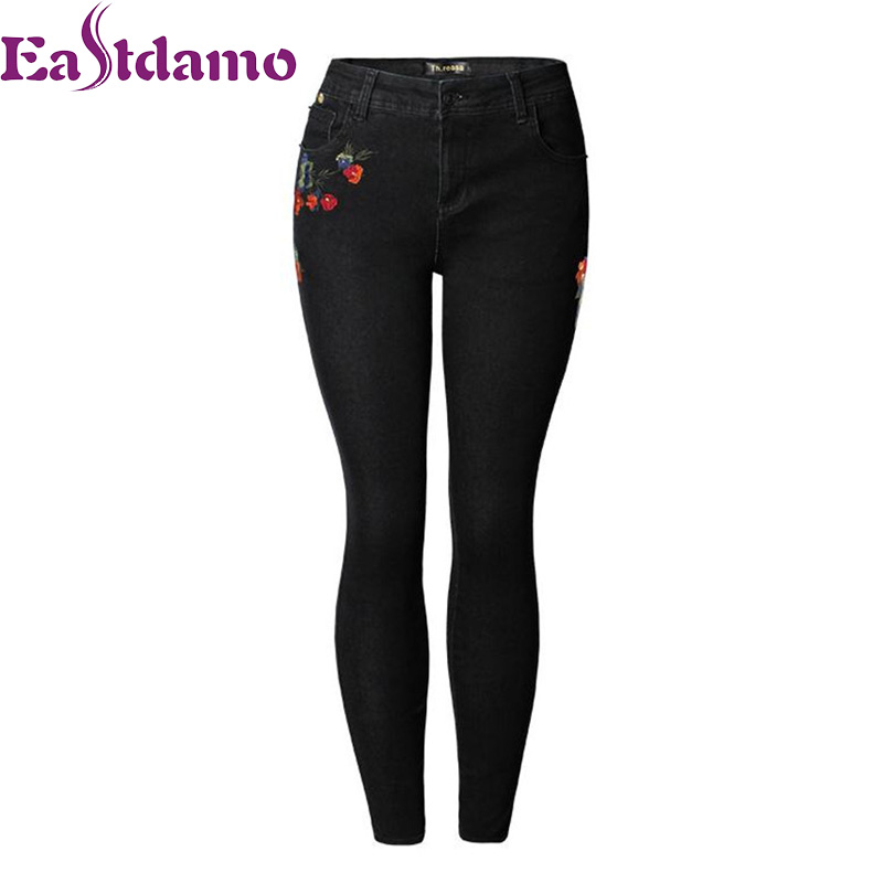 Eastdamo Floral Embroidery Skinny Jeans Women Black Denim Pants High Waist Sexy Slim Female Casual Jeans Pants Plus Size XXXL women sexy club denim shorts sexy appliques rose style cross embroidery high waist casual denim newest