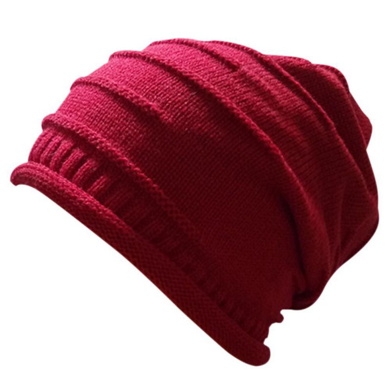 Multi Unisex Women Men Knit Baggy Beanie Hat Adult Winter Warm hat Oversized Ski Cap unisex women warm winter baggy beanie knit crochet oversized hat slouch ski cap