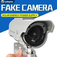 Solaire Puissance Imitation Haute Simulation CCTV Caméra Factice Caméra Bullet Faux Moniteur Étanche Surveillance Extérieure Caméra