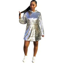 7fc28581fc2 (Ship from US) Casual Silver Sequined Women Dress Long Sleeve O Neck With  Cap A-Line Loose Mini Dress Women Night Club Party Dresses Vestidos