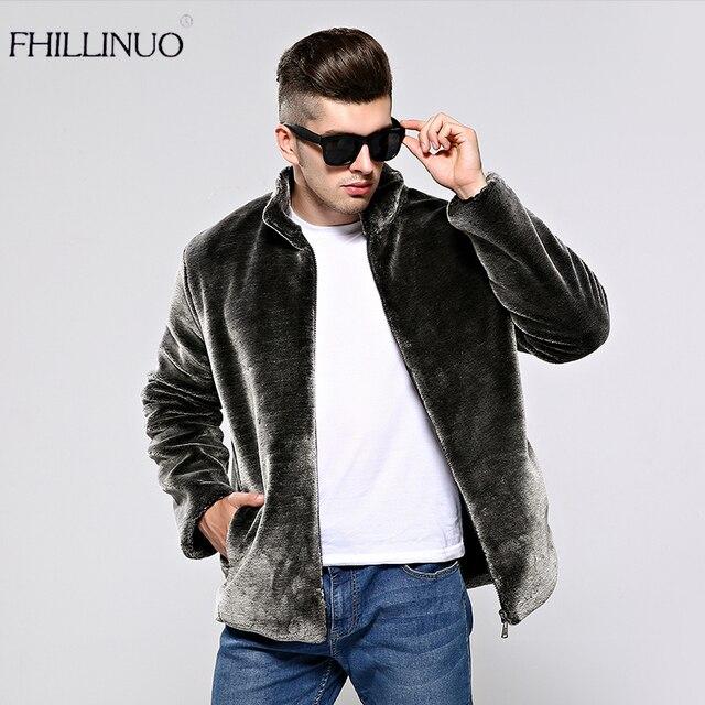 Fhillinuo 2018 Nouveau Faux Manteau De Fourrure Hommes De Mode