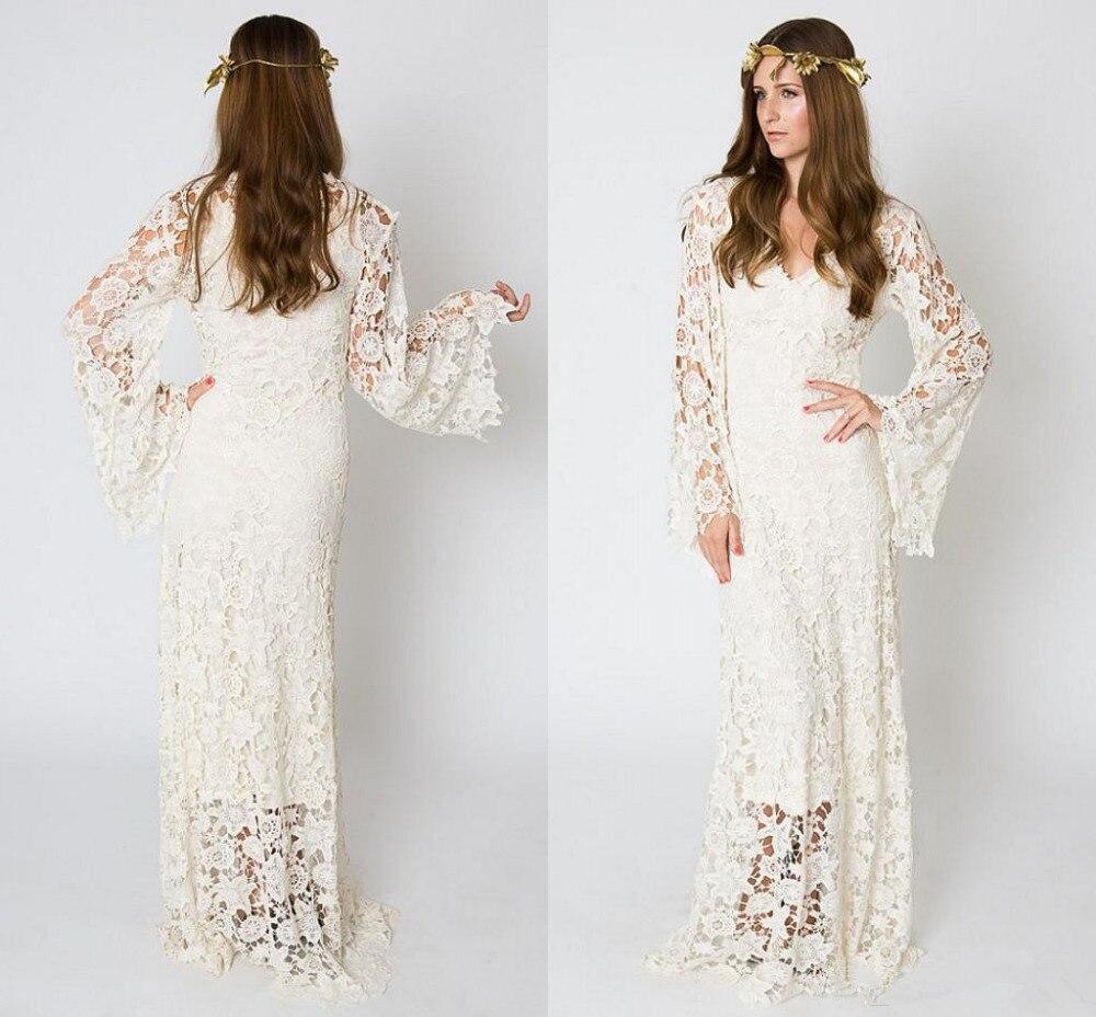 Vintage bohème robe de mariée longue sleve